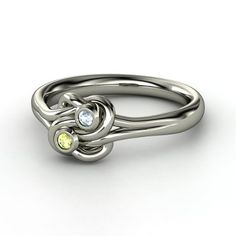 Sterling Silver Ring with Peridot & Aquamarine