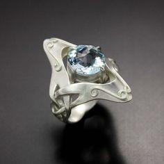 Art Nouveau style ring with a blue topaz by KAZism on Etsy, (C)Kazuhiko Ichikawa