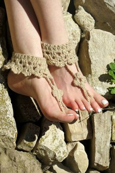 Crochet barefoot sandals tan beige sandals foot by EmofoFashion, $18.00