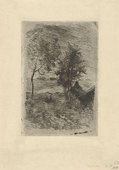 Anton Mauve | Landschap met bomen en een huis, Anton Mauve, 1848 - 1888 | Zicht op een weg in Laren met aan weerszijden bomen en rechts een huis. Op de weg een herder met een kudde.