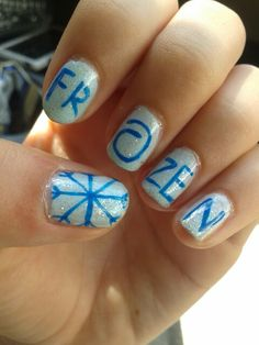 Cute and easy Frozen nails Snowflake Nail Design, Snowflake Nails, Snowflakes, Frozen Nail Designs, Nail Art Designs, Nail Art For Kids, Easy Nail Art, Easy Messy Hairstyles, Frozen Nails