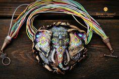 """Купить Слон """"Праздничный"""" - полимерная глина, слон, слон праздничный, слон холли, красочный слон"""