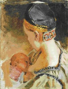 Karelian Mother, Oil On Canvas by Akseli Gallen Kallela Finland) Vincent Van Gogh, Illustrations, Illustration Art, Breastfeeding Art, Life Paint, Madonna And Child, Art Series, Mothers Love, Mother And Child