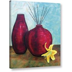 ArtWall Herb Dickinson Crimson Pursuit I Gallery-wrapped Canvas, Size: 18 x 24, Red