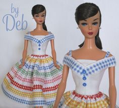 """Check It Out Stripe"" Vintage Barbie Doll Dress 