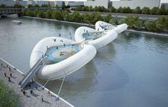 New bridge made entirely of trampolines to cross the Seine. Looks like a fatality waiting to happen.