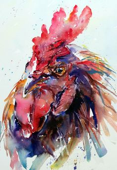 Watercolor Feather, Watercolor Animals, Watercolor Paintings, Watercolours, Rooster Painting, Rooster Art, Chicken Painting, Chicken Art, Watercolor Projects