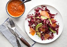Food Lovers Cleanse Butternut Squash and Tomato Soup with Avocado-Radicchio-Salmon Salad by bonappetit #Cleanse #Soup #Salad #Butternut_Squash #Tomato #Salmon