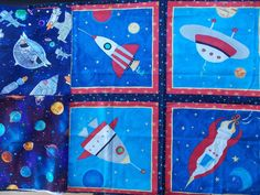 WtW Estate Fabric Quilt Craft Stash Lot 3 Planet Spaceship Outerspace Star Moon