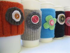 Upcycled Felted Wool Sweater Coffee Cozy Sleeve & by 4onemore, $5.00