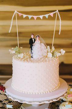 vintage-inspired wedding cake! photo by Brett & Jessica http://ruffledblog.com/lady-luck-farms-asheville-wedding #cakes #weddingcake #wedding