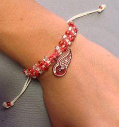 Detroit Red Wings Macramé Bracelet by BoilerChic on Etsy, $15.00