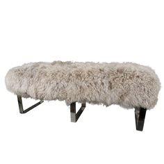 1stdibs | Tibetan Lambs Wool Bench with Chrome Legs