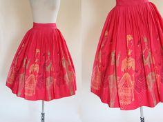 50s Skirt  Vintage Novelty Print Skirt  1950s by jumblelaya
