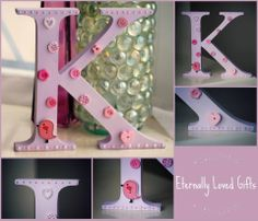 15cm high, freestanding wooden initial.  Painted in a pale lilac colour with pink and pearly white embellishments, buttons and a cute little bird.  All letters of the alphabet available, in your choice of colours. Embellishments will be random but will match the colour scheme.  £6.50 per initial plus £2.75 postage. (Discounts for multiples) or free collection/delivery within Southampton, UK