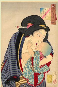 """Looking Cute -- Yoshitoshi """"32 Aspects of Women,"""" 1888."""