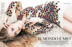 Stardust - Blumarine Fall Winter 2015/2016 • Kristina Bazan in a tulle dress with multicolor star-shaped embroideries. • GRAZIA, Italy - July 29, 2015