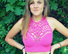 Crochet crop top/ Halter summer top/ Bohemia Top/ by ElenaVorobey