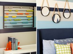 Big Boy Room Wall Decor ---> Love the counting bead board on the wall! Great idea for our boys toddler room!!