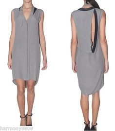 Authnew $575 Alexander Wang Tumbled Crepe Dress Gray Open Back US 4 on Sale | eBay