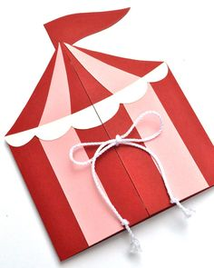 Girls Circus or Carnival Tent Handmade Birthday Party Invitation
