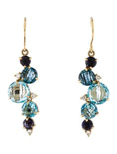 yellow gold Carelle Waterfall Cluster earrings featuring carats of round brilliant diamonds, round faceted blue topaz and iolite embellishments and French hook closures. Cluster Earrings, Pendant Necklace, Drop Earrings, Luxury Consignment, Blue Topaz, Waterfall, Diamond, Gold, Jewelry