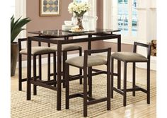 Brown 5 PC Counter Height Set