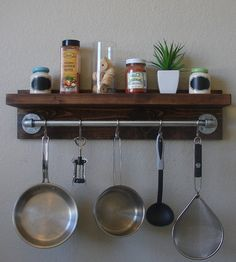 Industrial Rustic Kitchen Wall Shelf Spice Rack with by KeoDecor