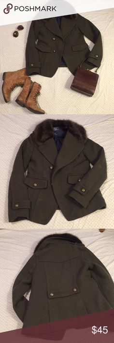 EUC American Eagle Military Coat Bought this during a military fashion phase, but only wore a couple times. Olive green, middle weight wool/poly material, all buttons intact (though could be re-knotted). Fur is in mint condition, soft and clean, with immaculate thermal liner.  Would be amazing as a base to add patches or embellishments for a custom look. American Eagle Outfitters Jackets & Coats