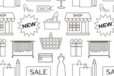 Set of shopping icons pattern  @creativework247