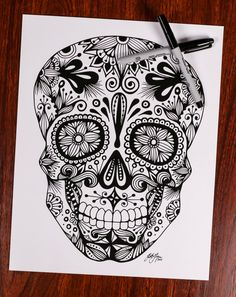 Zentangle Sugar Skull by DesignsByBlynn on Etsy