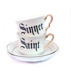 Saint and Sinner Set of Teacups ($62) ❤ liked on Polyvore featuring home, kitchen & dining, drinkware, home & living and silver