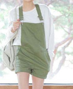 Army Green Pinafore Shorts