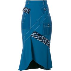 Peter Pilotto Safari Midi Skirt ($1,071) ❤ liked on Polyvore featuring skirts, blue, multi colored skirt, colorful midi skirts, pinstripe skirt, peter pilotto and blue skirt