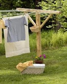 A big huge clothes line that will hold 4 beds worth of sheets. (How to Make Wooden Clothesline)