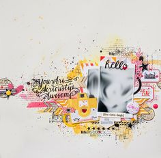 Maska Vanacker for Avery Elle using Write It brushstroke stamp set for stamped pink and yellow scrapbook LO layout