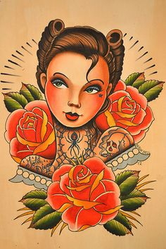 Finished the black widow babe Traditional Tattoo Art, Traditional Art, Pin Up Tattoos, Cool Tattoos, Tatoos, Flash Drawing, Old School Ink, Desenho Tattoo, American Traditional
