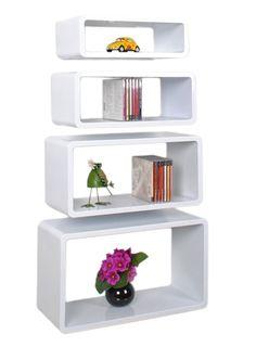 4er Set Lounge Regal Design Retro 70er Cube Regal Wandregal Hängeregal Weiß: Amazon.de: Küche & Haushalt