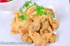 Crispy Fried Tofu Stuffed with Minced Pork and Shrimp - Patad Lom (Thai Appetizer) - FoodTravel.tv Recipe