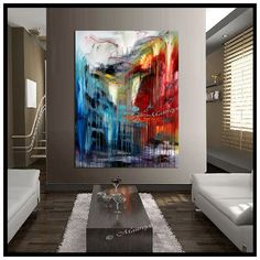 Large Painting Original Paintings Red Blue Abstract Modern Art On Canvas Contemporary Oversize Artwork 60x48