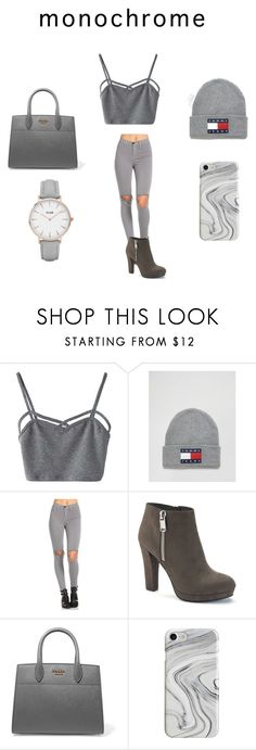 """Grey from Head to Toe"" by guess-gonzalez ❤ liked on Polyvore featuring beauty, WithChic, Tommy Hilfiger, Juicy Couture, Prada, Recover and CLUSE"