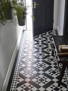 It With Patterned Vinyl Floor Tiles!Fake It With Patterned Vinyl Floor Tiles! Hall Tiles, Tiled Hallway, Hallway Ideas Entrance Narrow, Modern Hallway, Doorway Ideas, Hallway Closet, Entryway, Upstairs Hallway, Hallway Storage