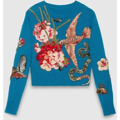 Gucci Embroidered Wool Knit Top (€4.595) ❤ liked on Polyvore featuring tops, sweaters, gucci, jumpers, ready to wear, women, blue crewneck sweater, woolen sweater, flower sweater and wool sweaters