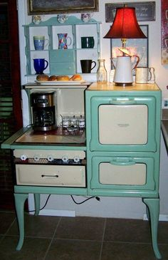 Old stove repurposed into coffee bar!