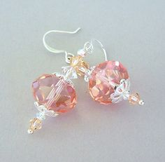 Peachy pink earrings faceted glass and crystal light rose