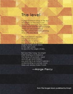 """Download a Printable Broadside of Marge Piercy's """"The level"""" 