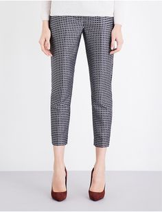 S MAX MARA - Cropped grid-pattern jacquard trousers | Selfridges.com