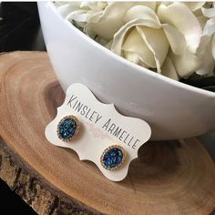 Talk about some major sparkle! Enchantment Collection: Ondine Blue Stud Earrings