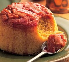 Top a steamed pud with sweetly tart rhubarb - it'll become a firm favorite. Vegetarian, too