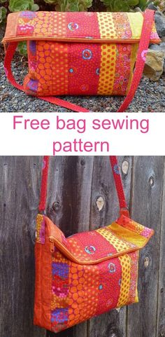 Free sewing pattern for a smart fold over bag made with jelly rolls, scraps or regular yardage.